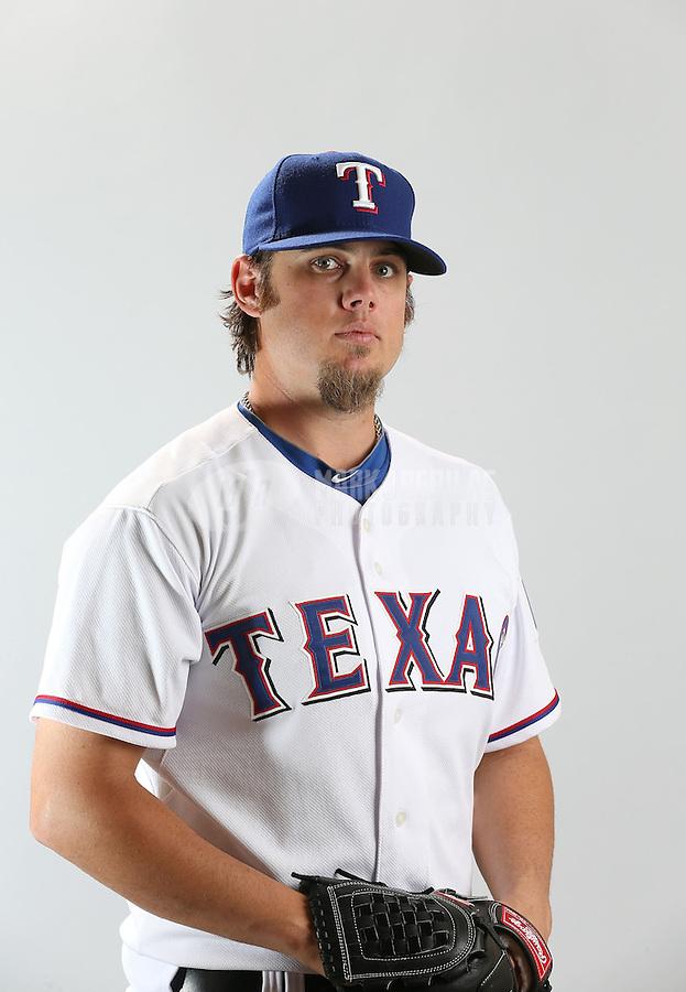 Feb. 20, 2013; Surprise, AZ, USA: Texas Rangers pitcher Cory Burns poses for a portrait during photo day at Surprise Stadium. Mandatory Credit: Mark J. Rebilas-
