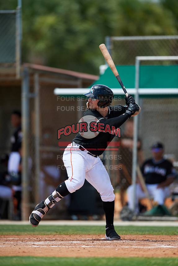GCL Marlins first baseman John Silviano (43) at bat during a game against the GCL Cardinals on August 4, 2018 at Roger Dean Chevrolet Stadium in Jupiter, Florida.  GCL Marlins defeated GCL Cardinals 6-3.  (Mike Janes/Four Seam Images)