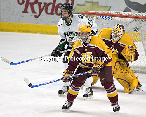 Travis Zajac, Chris Harrington, Kellen Briggs - The University of Minnesota Golden Gophers defeated the University of North Dakota Fighting Sioux 4-3 on Saturday, December 10, 2005 completing a weekend sweep of the Fighting Sioux at the Ralph Engelstad Arena in Grand Forks, North Dakota.