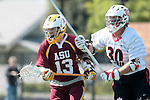 Orange, CA 05/02/10 - Eric Nelson (ASU # 13) and Spencer Halvorsen (Chapman # 30) in action during the Chapman-Arizona State MCLA SLC Division I final at Wilson Field on Chapman University's campus.  Arizona State defeated Chapman 13-12 in overtime.