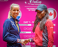 Den Bosch, The Netherlands, Februari 8, 2019,  Maaspoort , FedCup  Netherlands - Canada, Draw,  second match on saturday Arantxa Rus  NED (L) vs Francoise Abanda (CAN)<br /> Photo: Tennisimages/Henk Koster