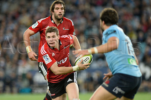 23.05.2015.  Sydney, Australia. Super Rugby. NSW Waratahs versus the Crusaders. Crusaders fly half Colin Slade on a break. The Waratahs won 32-22.