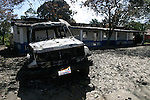 February 13, 2004. Cap Haitian, Haiti. In Trou de Nor East of Cap Haitian, a police vehicle and police station was burnt by anti Aristide forces. There are no police in the city any longer.