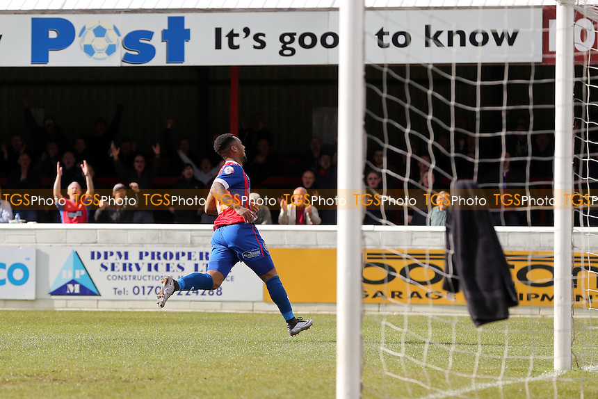 Ashley Hemmings of Dagenham and Redbridge scores the third goal during Dagenham and Redbridge vs Crawley Town, Sky Bet League 2 Football at the Chigwell Construction Stadium on 30th April 2016