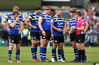 Bath Rugby forwards speak with referee Luke Pearce. Gallagher Premiership match, between Bath Rugby and Wasps on May 5, 2019 at the Recreation Ground in Bath, England. Photo by: Patrick Khachfe / Onside Images