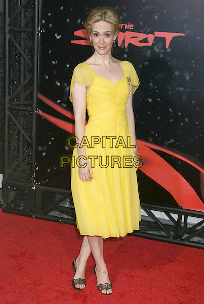 "SARAH PAULSON.""The Spirit"" Los Angeles Premiere held at Grauman's Chinese Theater, Hollywood, California, USA..December 17th, 2008.full length yellow dress sheer sleeves sara .CAP/ADM/MJ.©Michael Jade/AdMedia/Capital Pictures."