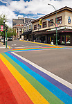 Nanaimo city downtown colorful rainbow crosswalk at Bastion and Commercial streets. Vancouver Island, British Columbia, Canada 2017
