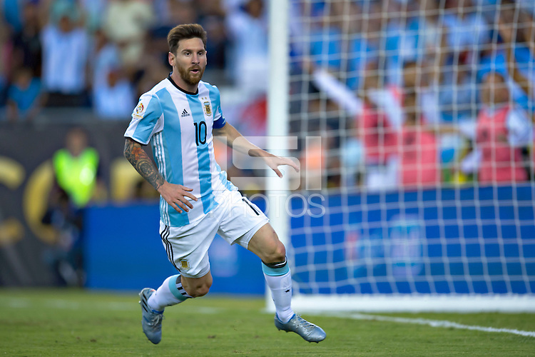Action photo during the match Argentina vs Venezuela at Gillette Stadium Copa America Centenario 2016. ---Foto de accion durante el partido Argentina vs Venezuela, En el Estadio Gillette. Partido Correspondiante a los Cuartos de Final de la Copa America Centenario USA 2016, en la foto: festejo de gol de Lionel Messi<br /> <br /> --- - 18/06/2016/MEXSPORT/Javier Ramirez.