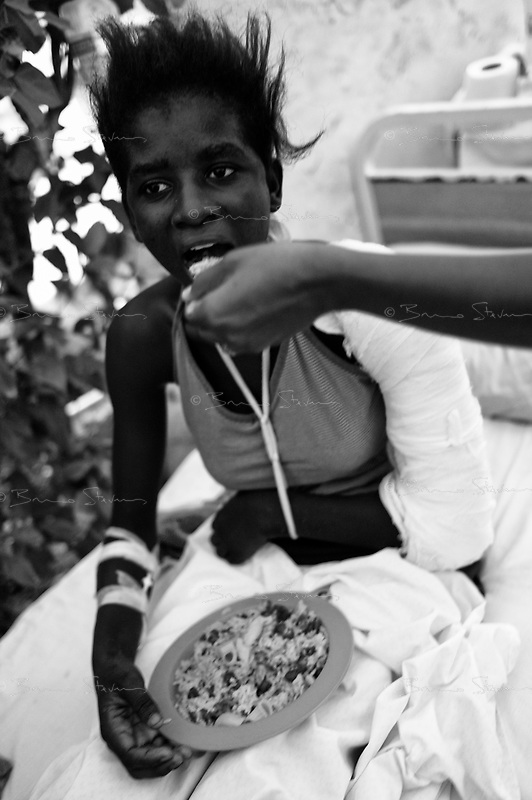 Jacmel, Haiti, Jan 19 2010.The city hospital is one of several institutions and camps in Jacmel where the UN World Food Programme serves more than 8400 hot meals per day..