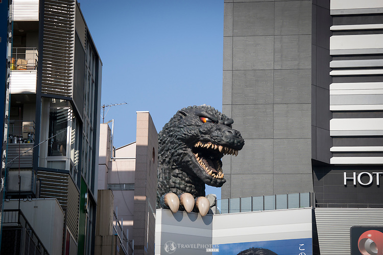 Godzilla on top of the Toho Cinemas in Shinjuku Tokyo.