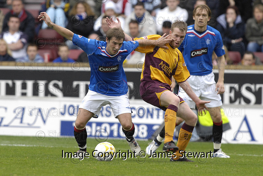 29/09/2007       Copyright Pic: James Stewart.File Name : sct_jspa23_motherwell_v_rangers.Kevin Thomson holds off David Clarkson..James Stewart Photo Agency 19 Carronlea Drive, Falkirk. FK2 8DN      Vat Reg No. 607 6932 25.Office     : +44 (0)1324 570906     .Mobile   : +44 (0)7721 416997.Fax         : +44 (0)1324 570906.E-mail  :  jim@jspa.co.uk.If you require further information then contact Jim Stewart on any of the numbers above........