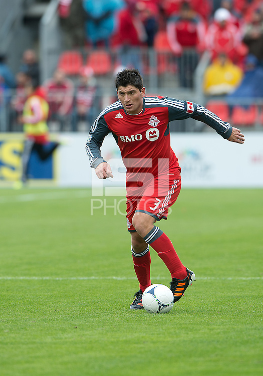 24 March 2012: Toronto FC defender Miguel Aceval #3 in action during a game between the San Jose Earthquakes and Toronto FC at BMO Field in Toronto..The San Jose Earthquakes won 3-0..
