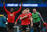 Manchester United players celebrate the win during the premier league match at the Etihad Stadium, Manchester. Picture date 7th April 2018. Picture credit should read: Simon Bellis/Sportimage