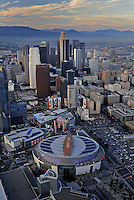 July. 10, 2009; Los Angeles, CA, USA; Aerial views of downtown Los Angeles and the Staples Center the home of the Los Angeles Lakers. Mandatory Credit: Mark J. Rebilas