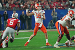 Clemson Tigers quarterback Trevor Lawrence (16) unleashes a pass during the Fiesta Bowl game against the Ohio State Buckeyes on Saturday, Dec 28, 2019 in Glendale, Ariz.  (Gene Lower via AP)