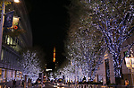 November 7, 2017, Tokyo, Japan - Tree lined street is illuminated with white and blue LED bulbs for the Christmas illumination at the Roppongi Hills shopping mall in Tokyo on Tuesday, November 7, 2017. Some 1.2 million LED lights along side of the Keyakizaka street will be illuminated through Christmas Day.    (Photo by Yoshio Tsunoda/AFLO) LWX -ytd-