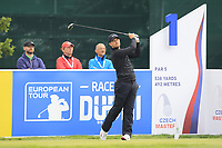 Tom Lewis (ENG) on the 1st during Round 4 of the D+D Real Czech Masters at the Albatross Golf Resort, Prague, Czech Rep. 03/09/2017<br /> Picture: Golffile | Thos Caffrey<br /> <br /> <br /> All photo usage must carry mandatory copyright credit     (&copy; Golffile | Thos Caffrey)