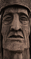 Wood Statue, Ikala Nawan or Man Who Fishes, honors Native American Tribes of the North Coast, Astoria, Oregon