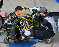 Josh Grajczonek of Poole Pirates talks to his mechanic during Poole Pirates vs King's Lynn Stars, SGB Premiership Shield Speedway at The Stadium on 11th April 2019