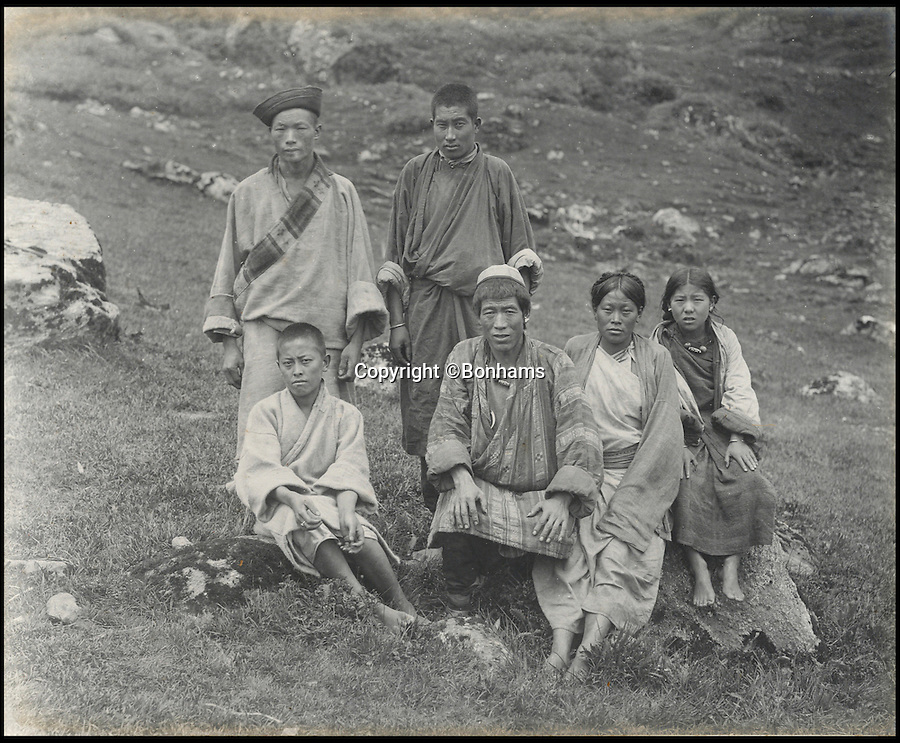 BNPS.co.uk (01202 558833)<br /> Pic: Bonhams/BNPS<br /> <br /> Fascinating 112 year-old photographs of Bhutan taken decades before the remote country in the Himalayas became open to outsiders have been unearthed.<br /> <br /> The images provide an unprecedented insight into the isolated kingdom nestled between India and China in the heart of the Himalayas at the beginning of the 20th century. <br /> <br /> The country was almost completely cut off for centuries as it sought to protect its ancient traditions and has only become more accessible to visitors since the 1970s. Such has been their desire to protect their heritage they didn't have TV until 1999.<br /> <br /> The photographs are believed to have belonged to the family of someone who took part in the expedition to Bhutan in 1905 and have since been passed to a private collector.<br /> <br /> The present owner has now decided to submit them for auction and they are tipped to sell for £15,000.