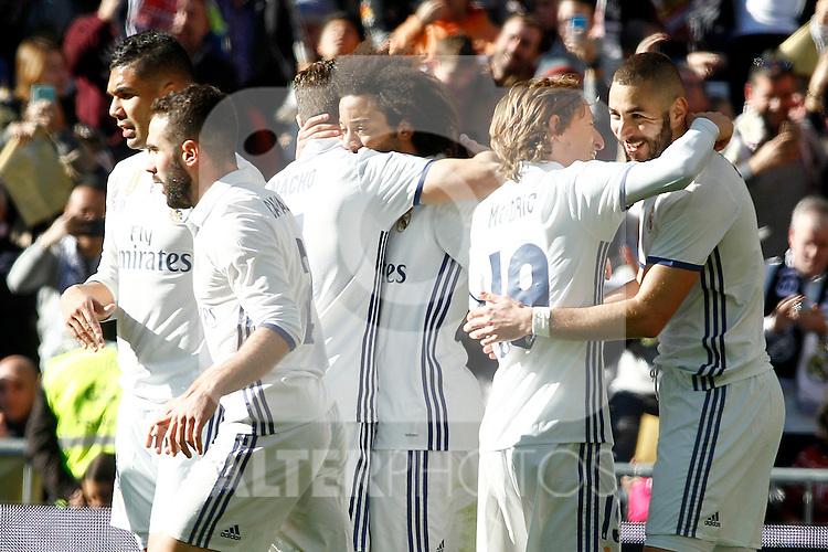 Real Madrid's Carlos Henrique Casemiro, Daniel Carvajal, Nacho Fernandez, Marcelo Vieira, Luka Modric and Cristiano Ronaldo celebrate goal during La Liga match. January 7,2016. (ALTERPHOTOS/Acero)
