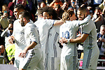 Real Madrid's Carlos Henrique Casemiro, Daniel Carvajal, Nacho Fernandez, Marcelo Vieira, Luka Modric and Cristiano Ronaldo celebrate goal during La Liga match. January 7,2016. (ALTERPHOTOS/Acero)
