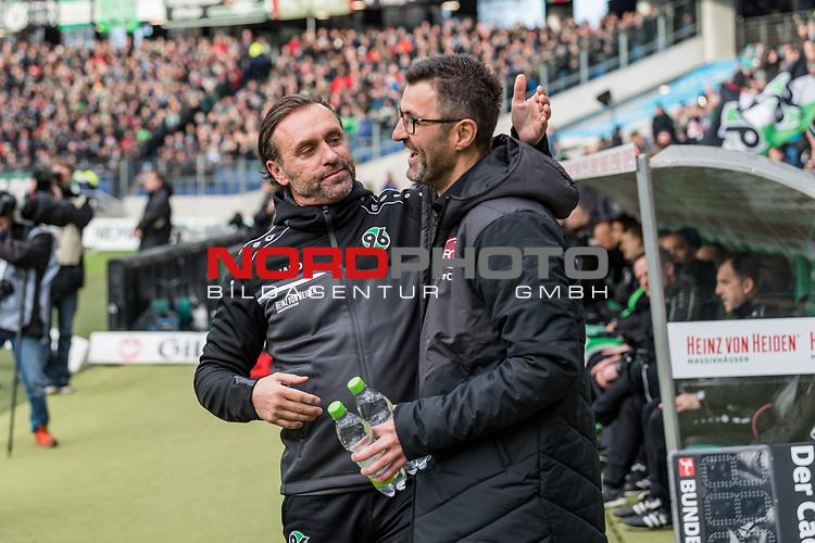 09.02.2019, HDI Arena, Hannover, GER, 1.FBL, Hannover 96 vs 1. FC Nuernberg<br /> <br /> DFL REGULATIONS PROHIBIT ANY USE OF PHOTOGRAPHS AS IMAGE SEQUENCES AND/OR QUASI-VIDEO.<br /> <br /> im Bild / picture shows<br /> Thomas Doll (Trainer Hannover 96) und Michael Köllner / Koellner (Trainer 1. FC Nuernberg) wünschen sich gegenseitig Glück vor Anpiff, <br /> <br /> Foto © nordphoto / Ewert