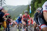 a focused Greg Henderson (NZL/Lotto-Soudal) coming up the Montée de Bisanne (HC/1723m/12.4km/8.2%) in the rain<br /> <br /> Stage 19:  Albertville › Saint-Gervais /Mont Blanc (146km)<br /> 103rd Tour de France 2016