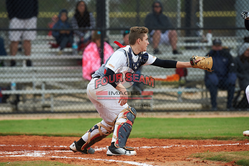 Mason Balsis (11) of Bristow, Virginia during the Baseball Factory All-America Pre-Season Rookie Tournament, powered by Under Armour, on January 13, 2018 at Lake Myrtle Sports Complex in Auburndale, Florida.  (Michael Johnson/Four Seam Images)