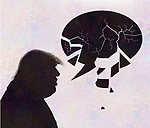 Concept image of president Trump and a speech bubble which is disintegrating depicting lies