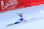 Switzerland's Jasmine Flury competes during the FIS Ski World Cup Ladies's Super G, on January 26, 2014 in Cortina d'Ampezzo.  PHOTO / PIERRE TEYSSOT