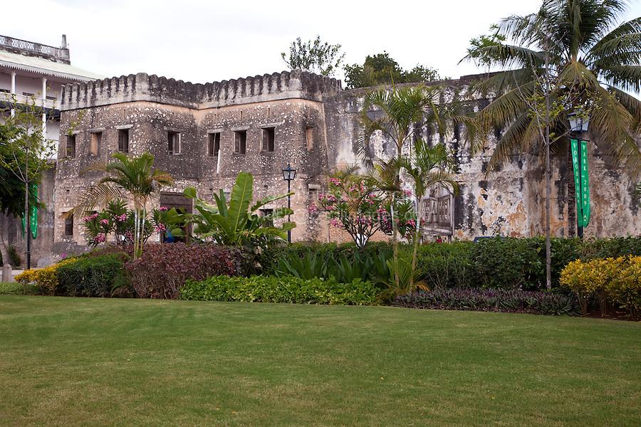 Stone Town, Zanzibar, Tanzania.  Arab Fort, from Forodhani Gardens.  18th Century.