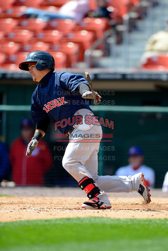 Pawtucket Red Sox shortstop Jose Iglesias #10 during the first game of a doubleheader against the Buffalo Bisons on April 25, 2013 at Coca-Cola Field in Buffalo, New York.  Pawtucket defeated Buffalo 8-3.  (Mike Janes/Four Seam Images)