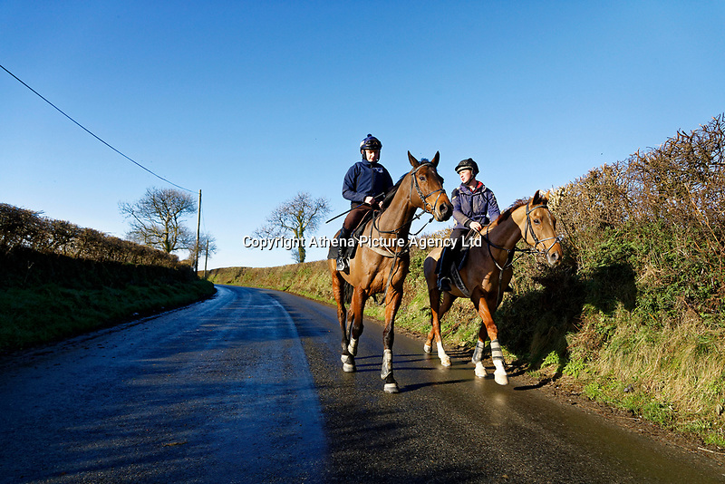Pictured: Sean Bowen (L) rides a horse. Wednesday 10 January 2018<br /> Re: Peter Bower Racing in Little Newcastle, west Wales, UK.