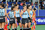 The Hague, Netherlands, June 10: Players of Argentina wait for the umpires desicion during the field hockey group match (Women - Group B) between Argentina and China on June 10, 2014 during the World Cup 2014 at GreenFields Stadium in The Hague, Netherlands. Final score 1-1 (yy-yy) (Photo by Dirk Markgraf / www.265-images.com) *** Local caption *** Maria Josefina Sruoga #30 of Argentina, Gisele Juarez #22 of Argentina, Mariana Rossi #2 of Argentina, Martina Cavallero #7 of Argentina, Noel Barrionuevo #27 of Argentina