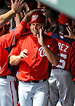 6 March 2012: Washington Nationals third baseman Ryan Zimmerman returns to the dugout after scoring during a Spring Training game against the Atlanta Braves at Champion Park in Disney's Wide World of Sports Complex, Orlando, Florida. The Nationals defeated the Braves 5-2 in Grapefruit League action. Mandatory Credit: Ed Wolfstein Photo