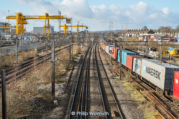 Goods train passing through Old Oak Common, North West London, considered by many to be a better site for the HS2 high speed rail terminal than Euston.