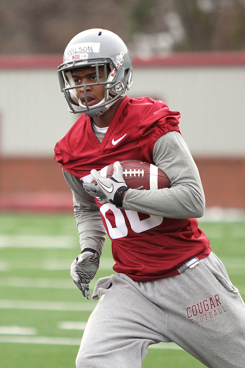 Marquess Wilson runs drills at Rogers Field during Spring football practice at Washington State University under new head football coach, Mike Leach, on March 24, 2012.