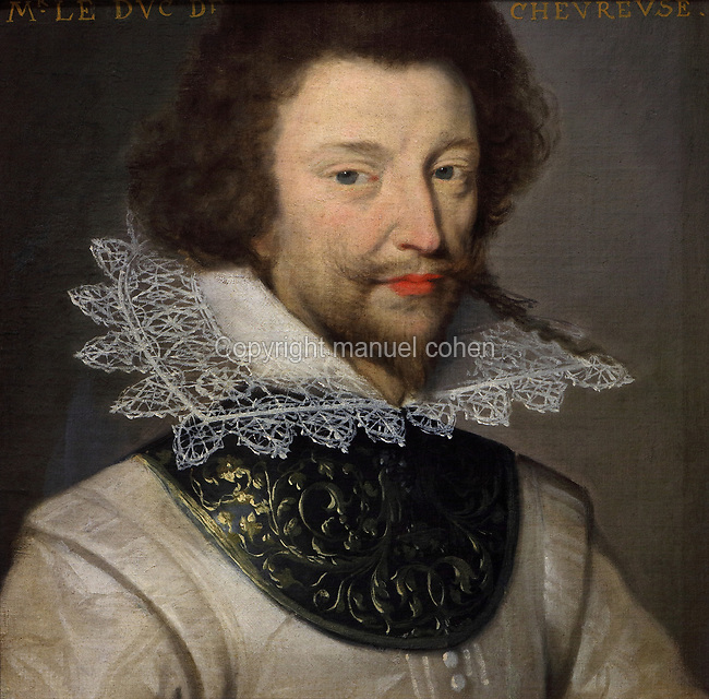 Portrait of the Duke of Chevreuse, wearing a lace collar, oil painting on canvas, c. 1625, by unknown artist, from the Gallery of portraits from the Chateau de Saint Germain-Beaupre, Creuse, now in the Musee des Beaux-Arts de la Ville de Blois, housed since 1869 on the first floor of the Louis XII wing of the Chateau Royal de Blois, built 13th - 17th century in Blois in the Loire Valley, Loir-et-Cher, Centre, France. The museum originally opened in 1850 in the Francois I wing, but moved here in 1869 after the rooms had been restored by Felix Duban in 1861-66. The chateau has 564 rooms and 75 staircases and is listed as a historic monument and UNESCO World Heritage Site. Picture by Manuel Cohen