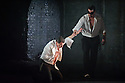 """London, UK. 09.03.2016. English Touring Opera presents """"Don Giovanni"""", by Wolfgang Amadeus Mozart, at the Hackney Empire.  Directed by Lloyd Wood, with set & costume design by Anna Fleischle and lighting design by Guy Hoare. Picture shows:  Tim Dawkins (Il Commendatore), George von Bergen (Don Giovanni). Photograph © Jane Hobson."""