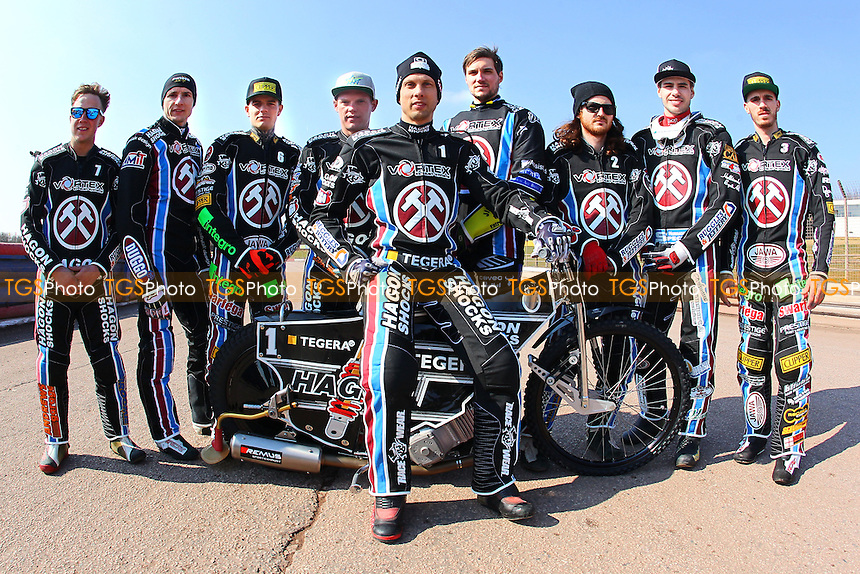 The Lakeside riders pose for a team photo during Lakeside Hammers Speedway Press & Practice Day at the Arena Essex Raceway on 17th March 2016
