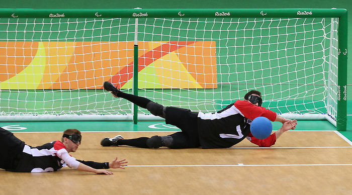 Rio de Janeiro-9/9/2016- Team Canada plays Brazil in the men's goalball  at the 2016 Paralympic Games in Rio. Photo Scott Grant/Canadian Paralympic Committee