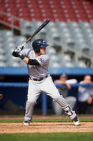 Trenton Thunder second baseman Billy Fleming (15) at bat during the first game of a doubleheader against the Hartford Yard Goats on June 1, 2016 at Sen. Thomas J. Dodd Memorial Stadium in Norwich, Connecticut.  Trenton defeated Hartford 4-2.  (Mike Janes/Four Seam Images)