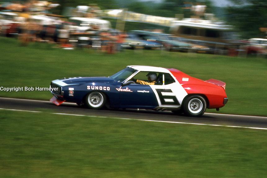 LEXINGTON, OH - JUNE 6: Mark Donohue drives the Roger Penske AMC Javelin during the SCCA Trans-Am race at the Mid-Ohio Sports Car Course near Lexington, Ohio, on June 6, 1971.