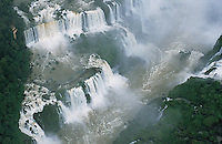 A spectacular aerial view of the Garganta del Diablo, or Devil's Throat, in the Iguazu Falls. The Falls consist of some 275 separate waterfalls - or, in the rainy season, 350 - and the distance from top to bottom is about 250 feet.