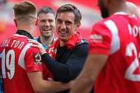 Phil Neville celebrates after the AFC Fylde vs Salford City, Vanarama National League Play-Off Final Football at Wembley Stadium on 11th May 2019