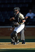 Wake Forest Demon Deacons catcher Shane Muntz (11) during the game against the Liberty Flames at David F. Couch Ballpark on April 25, 2018 in  Winston-Salem, North Carolina.  The Demon Deacons defeated the Flames 8-7.  (Brian Westerholt/Four Seam Images)