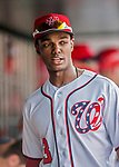 29 June 2017: Washington Nationals outfielder Michael Taylor stands in the dugout prior to a game against the Chicago Cubs at Nationals Park in Washington, DC. The Cubs rallied against the Nationals to win 5-4 and split their 4-game series. Mandatory Credit: Ed Wolfstein Photo *** RAW (NEF) Image File Available ***