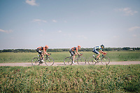 "Martijn Budding (NED/Roompot Nederlandse loterij) , Jan-Willem Van Schip (NED/Roompot-Nederlandse Loterij) & Guillaume Van Keirsbulck (BEL/Wanty-Groupe Gobert) riding off<br /> <br /> Antwerp Port Epic 2018 (formerly ""Schaal Sels"")<br /> One Day Race:  Antwerp > Antwerp (207 km; of which 32km are cobbles & 30km is gravel/off-road!)"