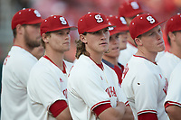 Joe O'Donnell (41) of the North Carolina State Wolfpack stands on the field prior to the game against the Louisville Cardinals at Doak Field at Dail Park on March 24, 2017 in Raleigh, North Carolina. The Wolfpack defeated the Cardinals 3-1. (Brian Westerholt/Four Seam Images)